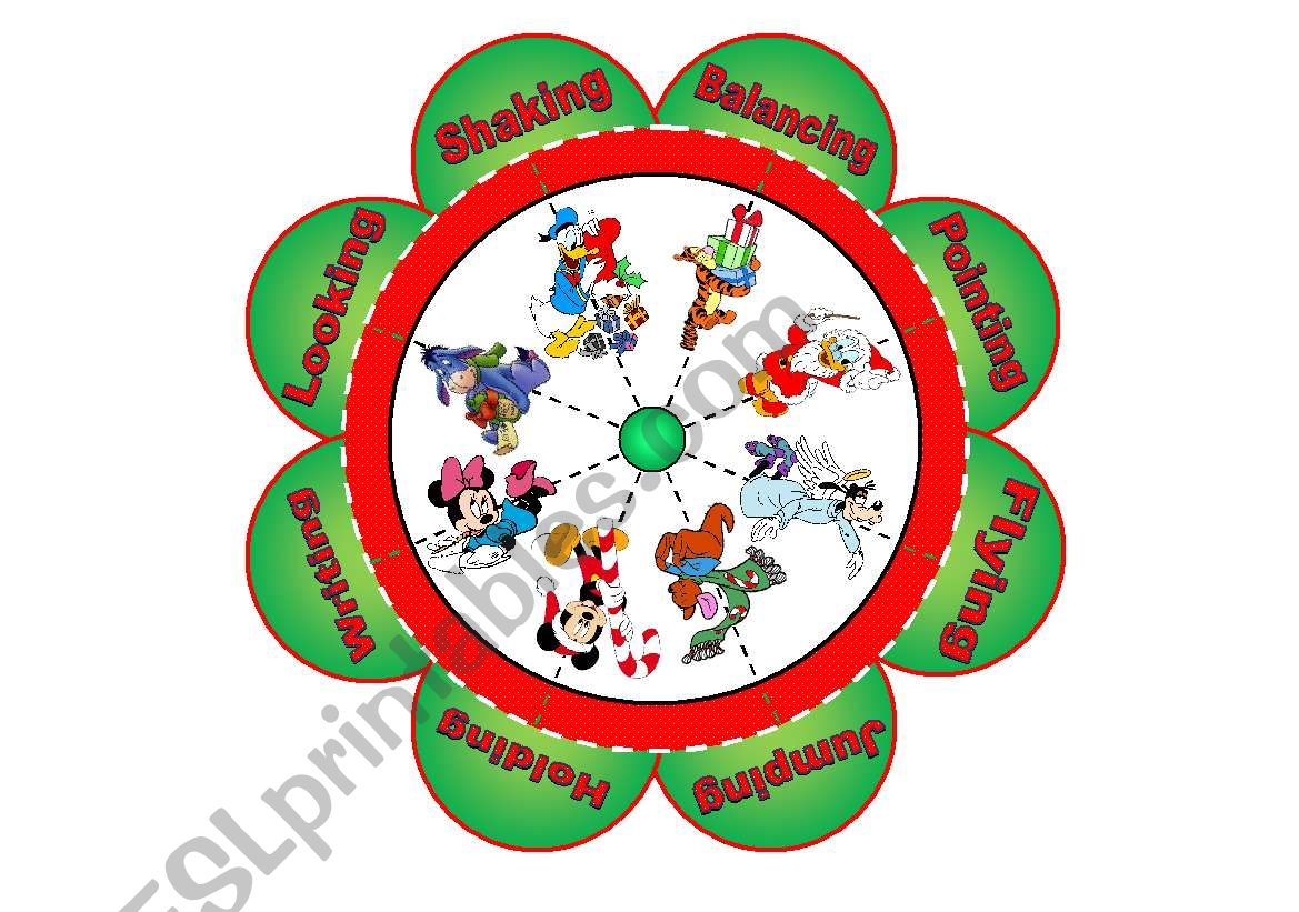 Christmas Flower Puzzle With 8 Images And 8 Verbs To Match
