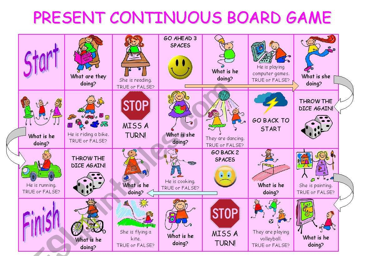Present Continuous Board Game