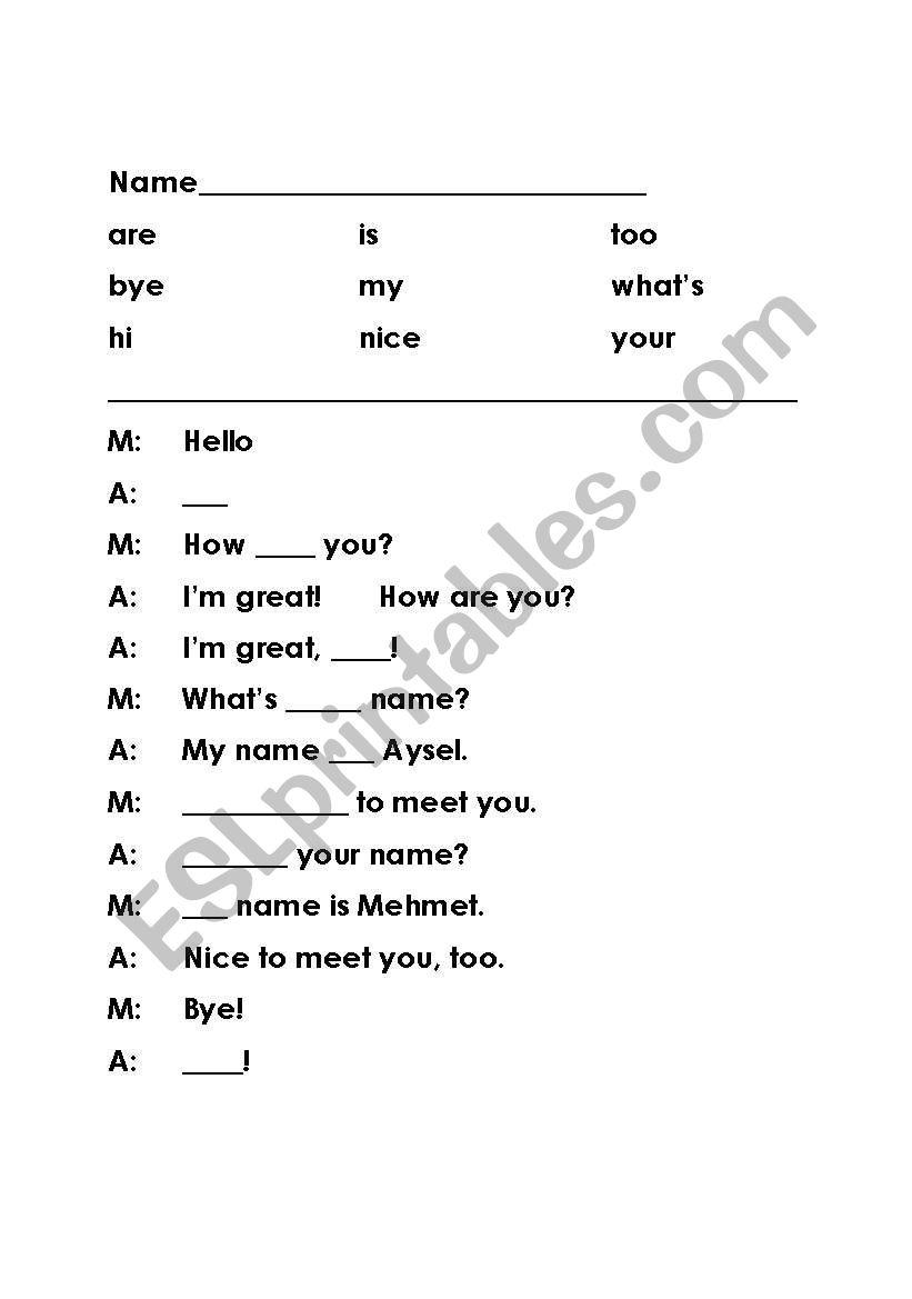 English worksheets: Simple Cloze Greeting Dialogue