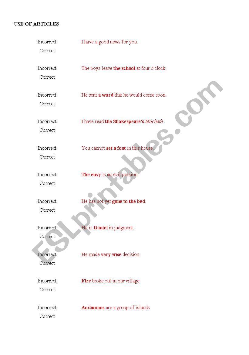 English worksheets: Common English Mistakes
