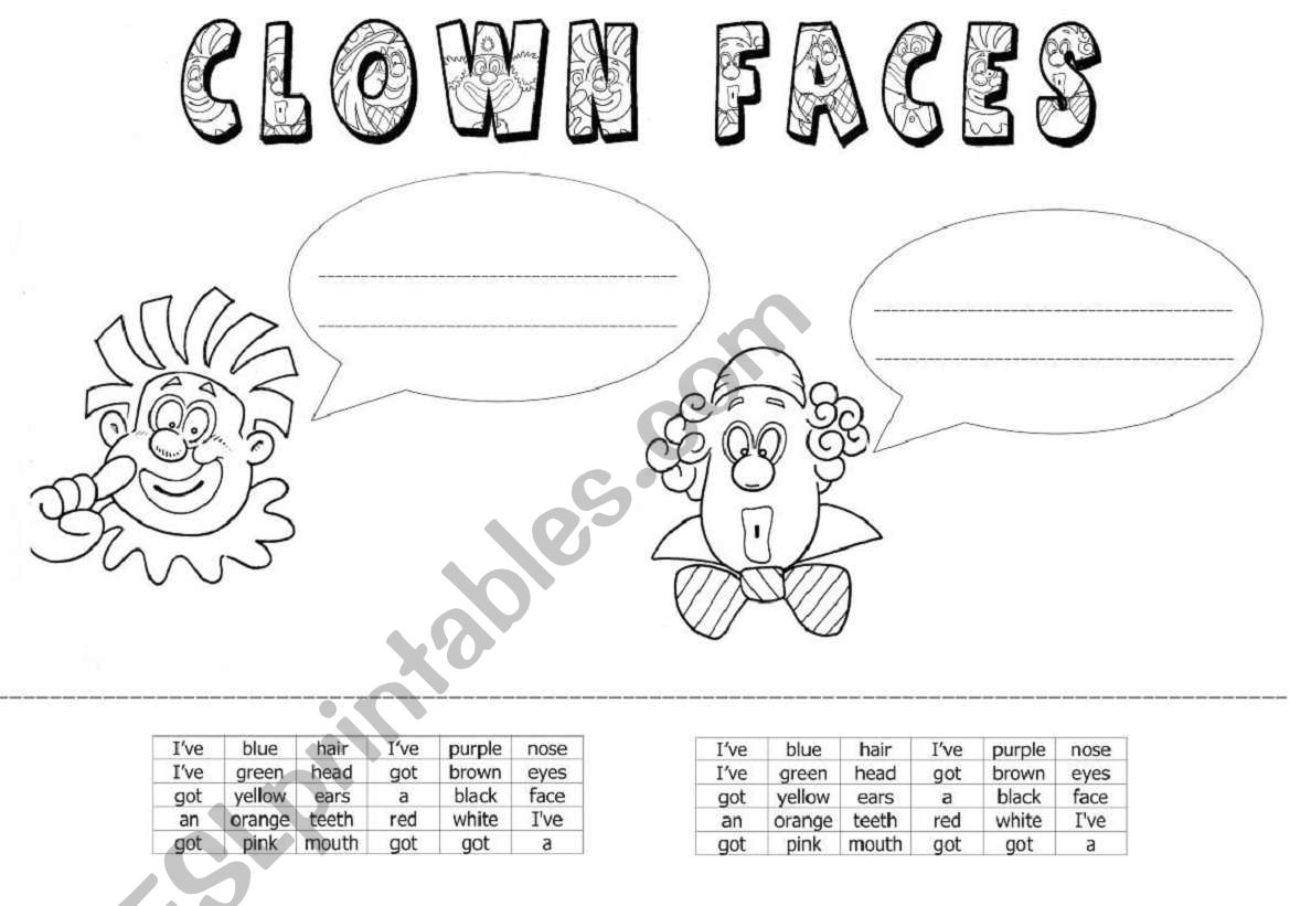 English Worksheets Clown Faces