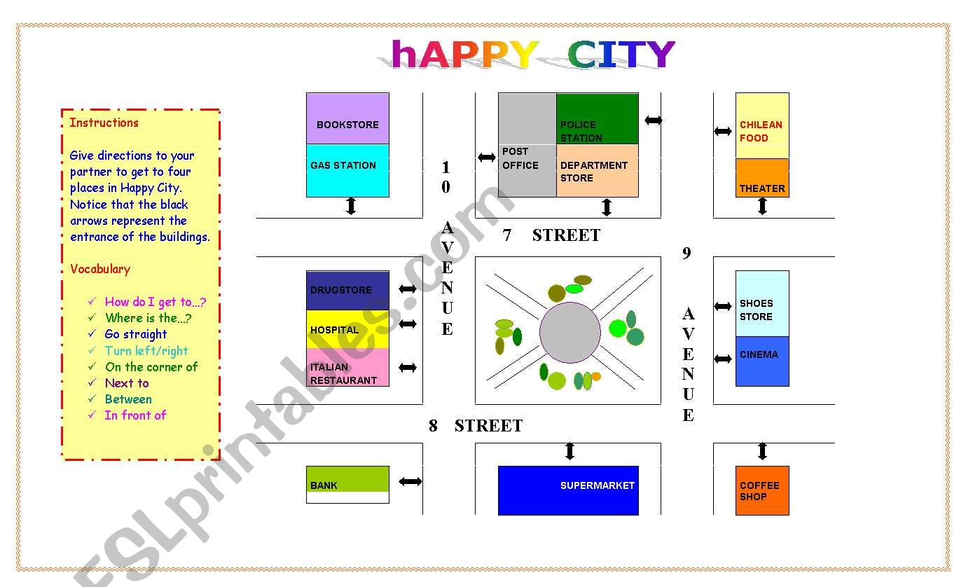 English Worksheets Happy City Giving Directions Map