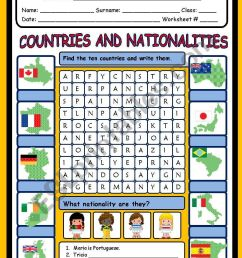 COUNTRIES AND NATIONALITIES - ESL worksheet by evelinamaria [ 1169 x 821 Pixel ]