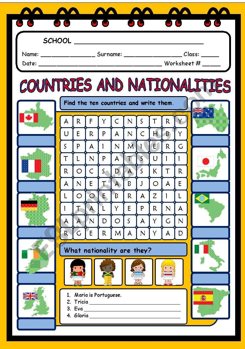 hight resolution of COUNTRIES AND NATIONALITIES - ESL worksheet by evelinamaria