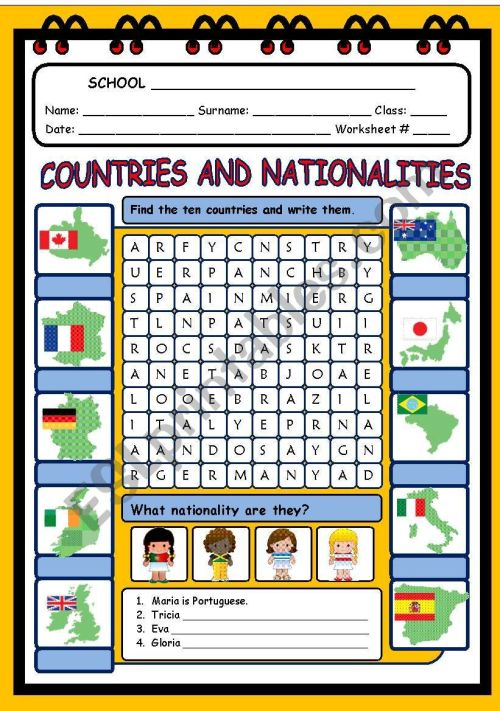 small resolution of COUNTRIES AND NATIONALITIES - ESL worksheet by evelinamaria