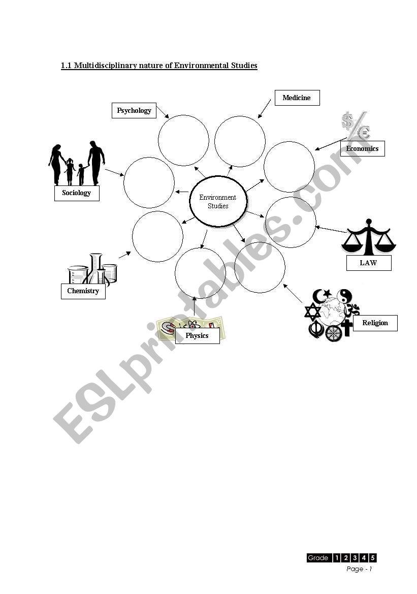 hight resolution of English worksheets: multidisciplinary nature of environment studies