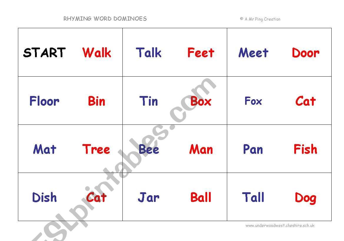 English Worksheets Rhyming Words Dominoes