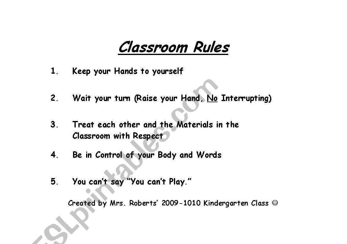 English Worksheets Kindergarten Classroom Rules