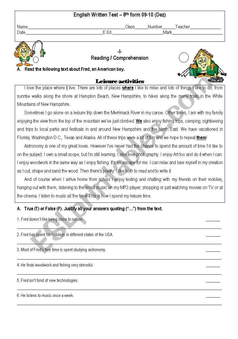 hight resolution of Test 8th Grade - ESL worksheet by givemegiveme