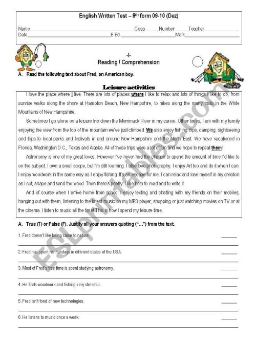 small resolution of Test 8th Grade - ESL worksheet by givemegiveme