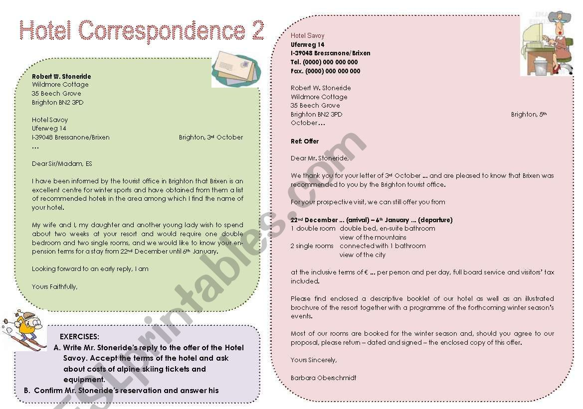 Hotel Correspondence 2 Hotel Letter With Exercises