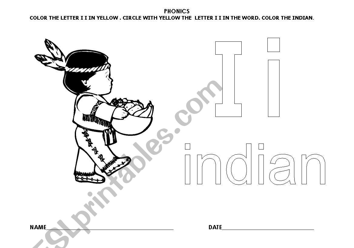 English Worksheets Letter Ii Indian