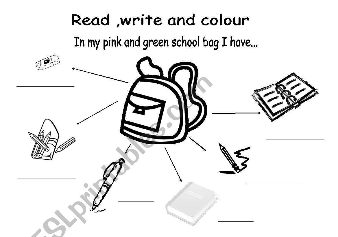 English Worksheets In My School Bag