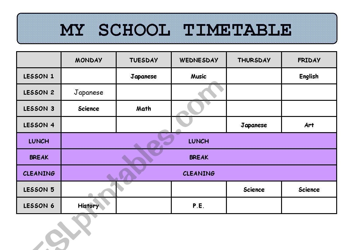 English Worksheets My School Timetable Information Gap Game