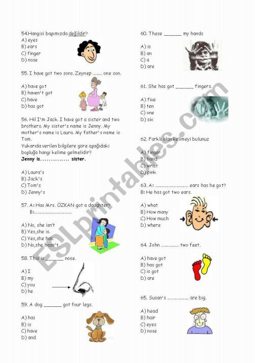 small resolution of 4th Grades Test -75 Questions (Part 3) - ESL worksheet by enahudi