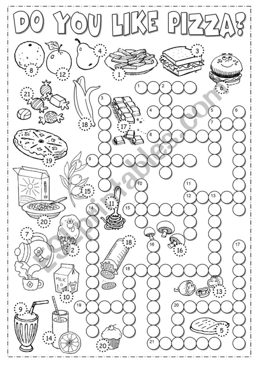 English worksheets: Food Crossword