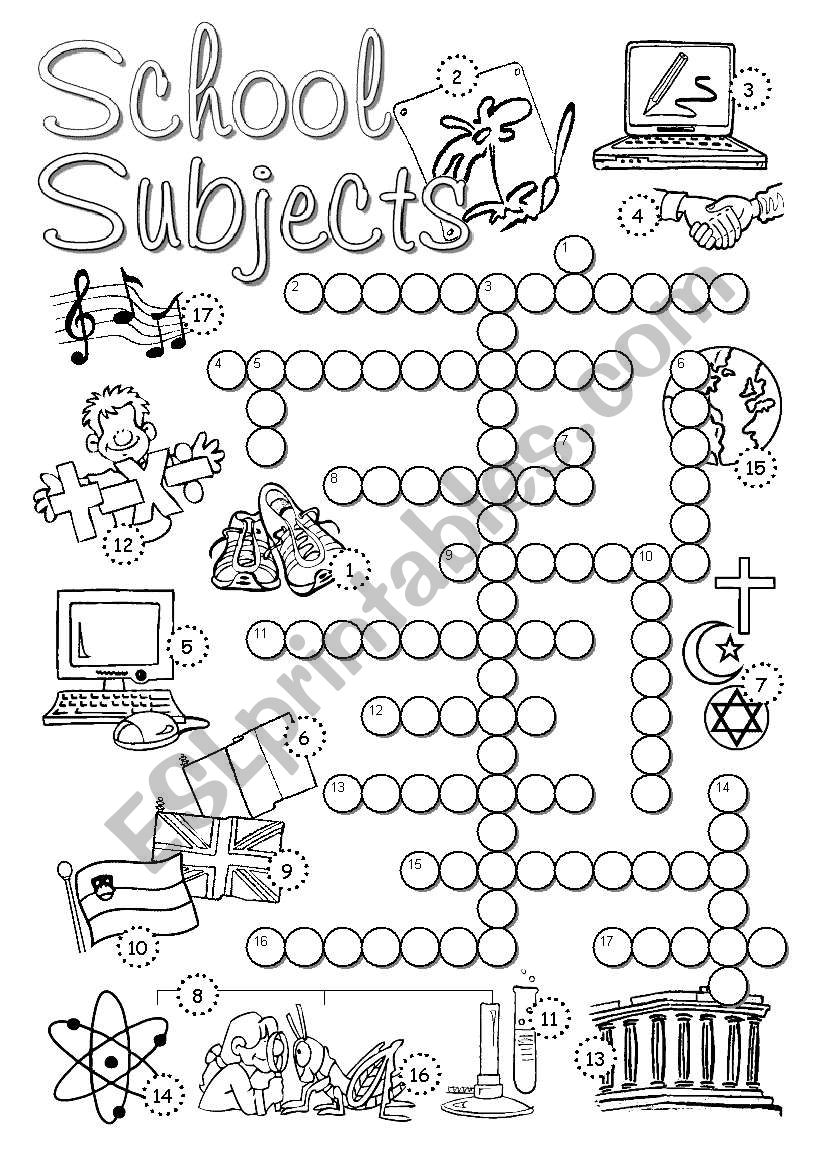 English worksheets: School Subjects Crossword