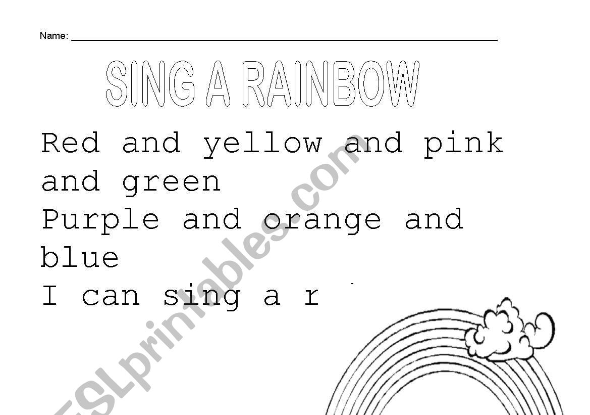 English Worksheets Sing A Rainbow
