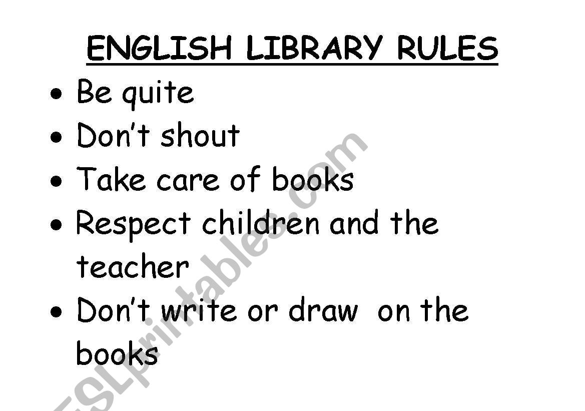 English Worksheets Library Rules