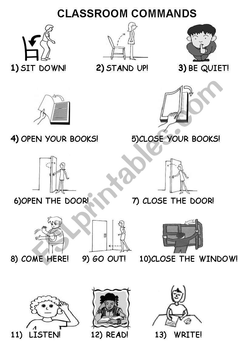 English worksheets: clasroom commands