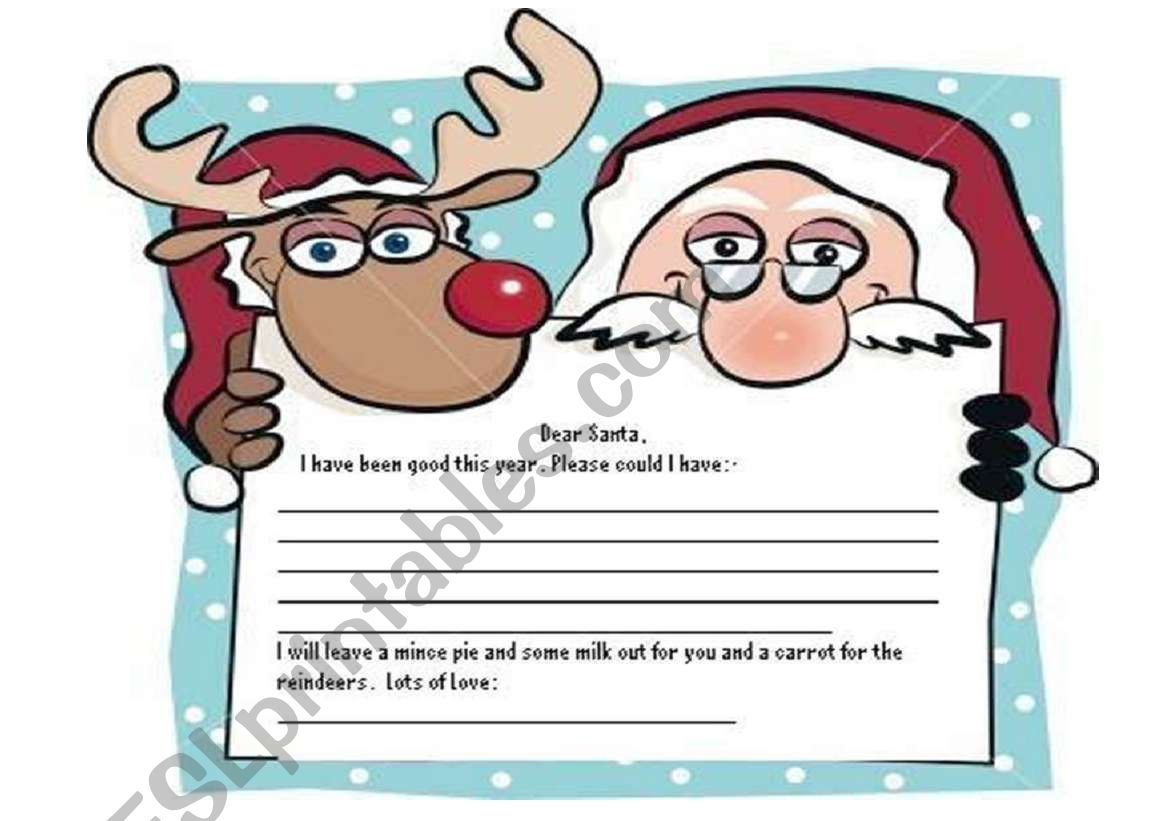 English Worksheets Letter To Santa