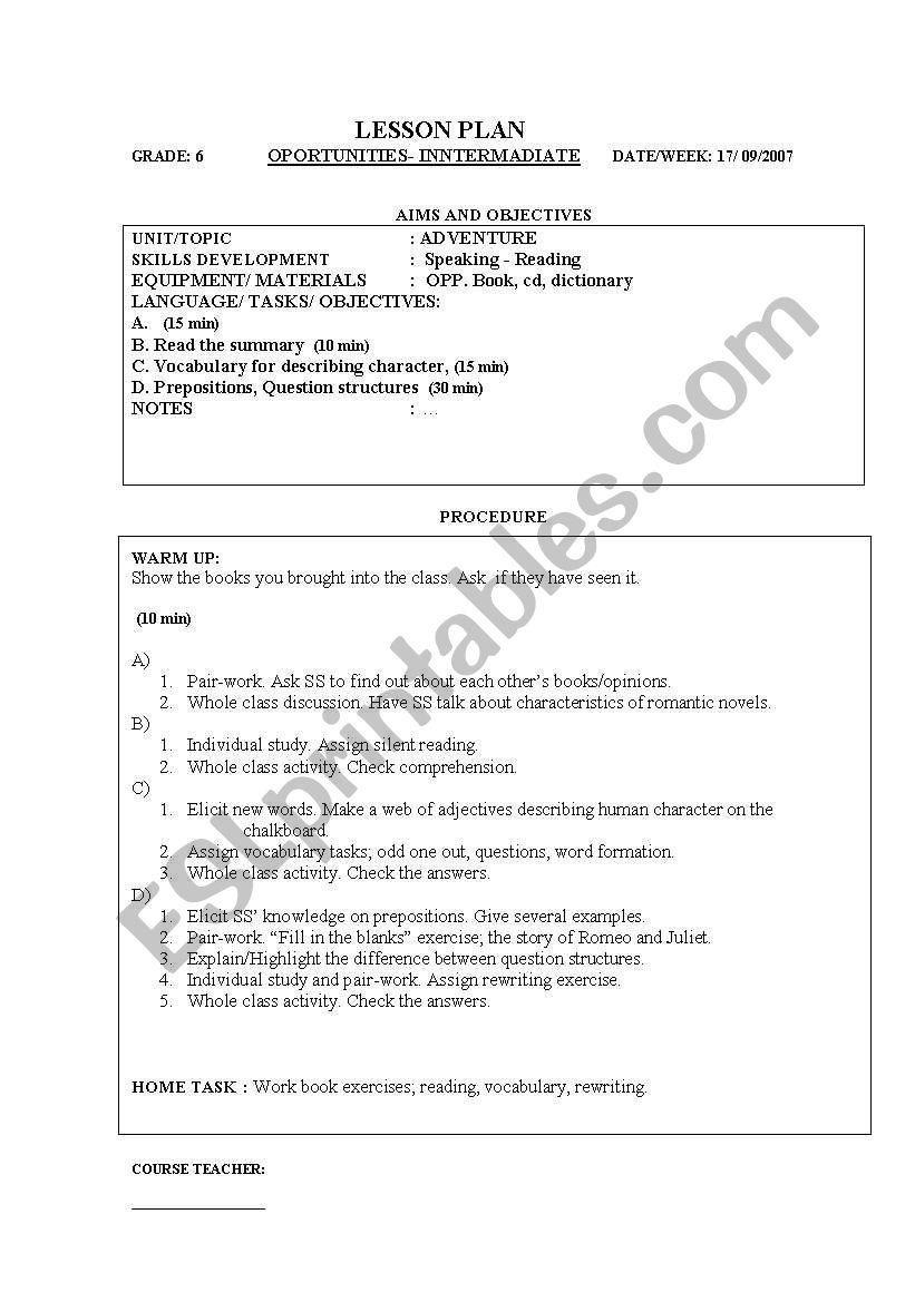hight resolution of English worksheets: plan