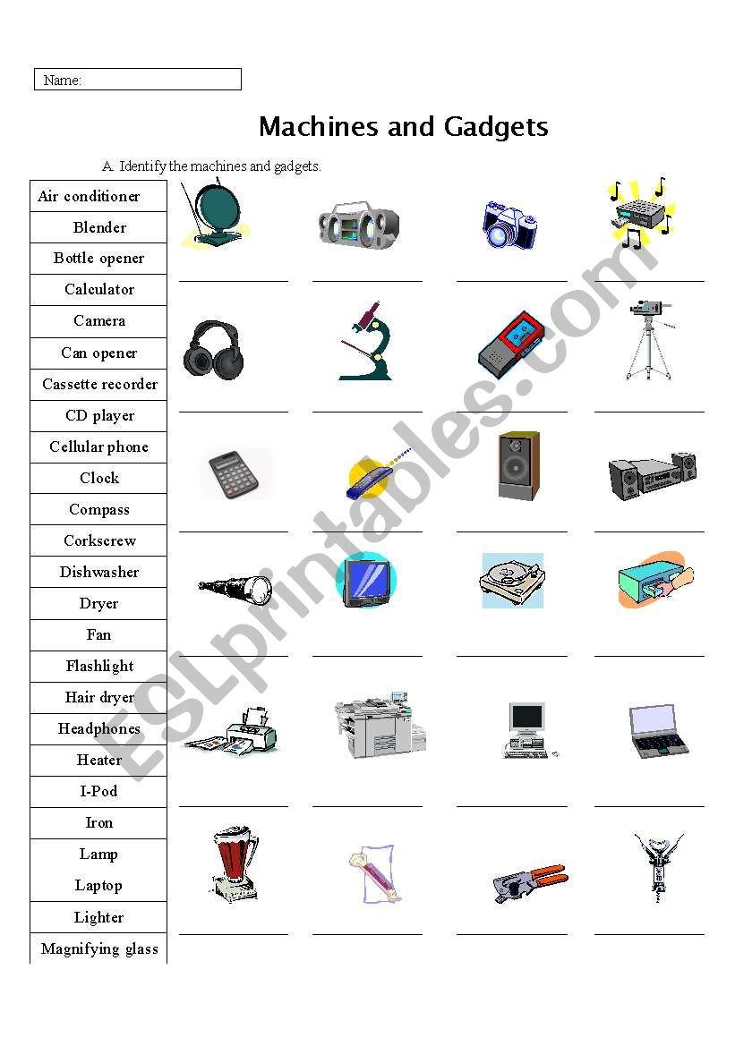 Machine, Appliances, and Gadget Identification Practice
