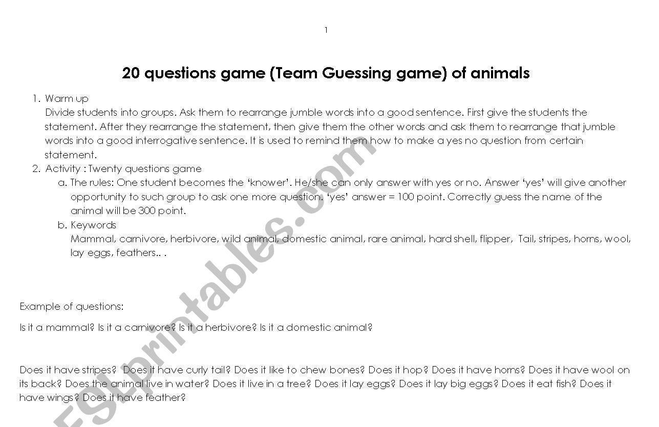 20 Questions Game Team Guessing Game Of Animals