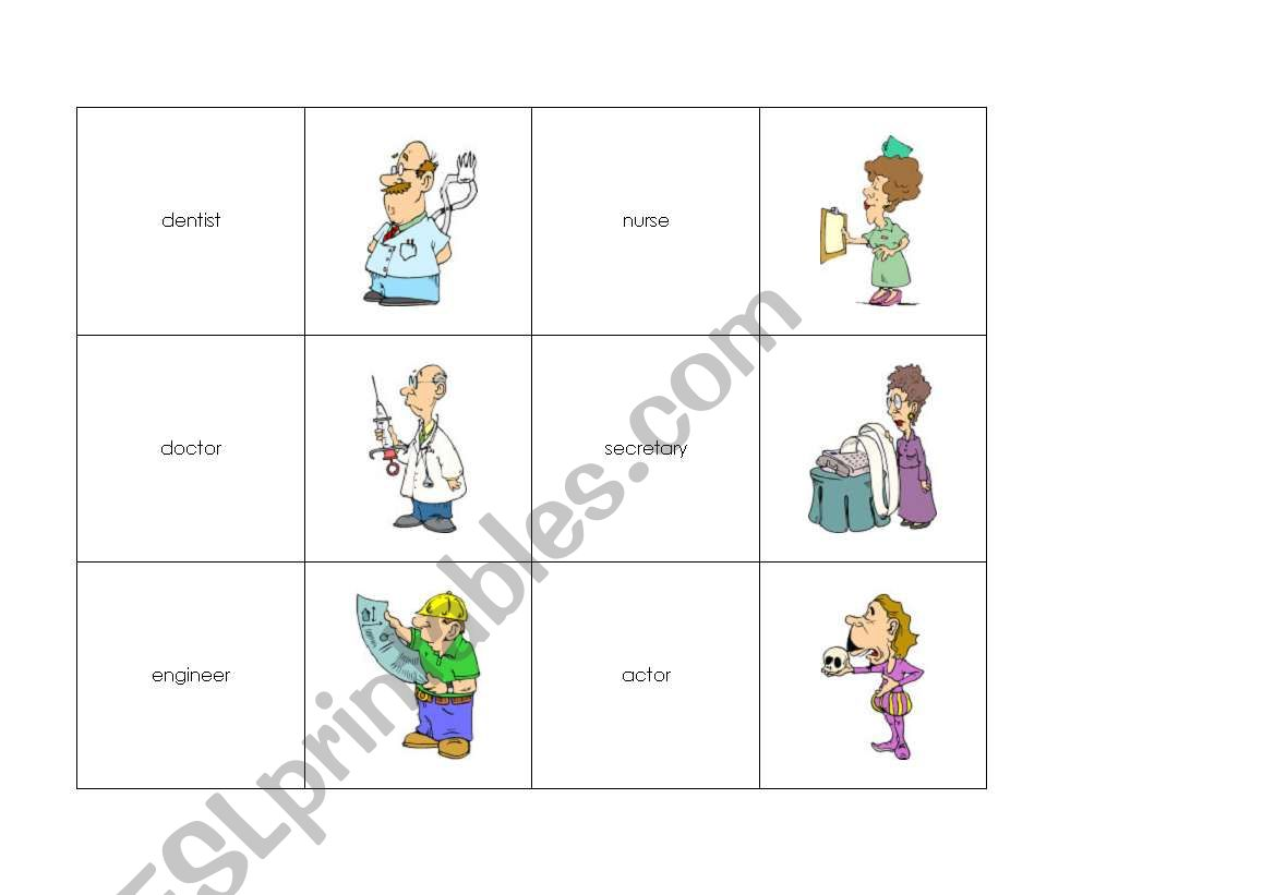 Memory Cards Jobs Professions 1 3 Pages