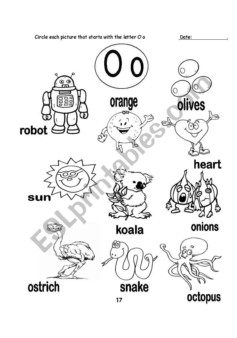 English worksheets: letter O