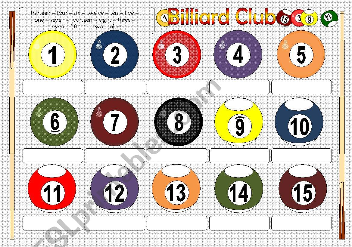 Billiard Club Numbers 1 15 Pictionary Bw Included