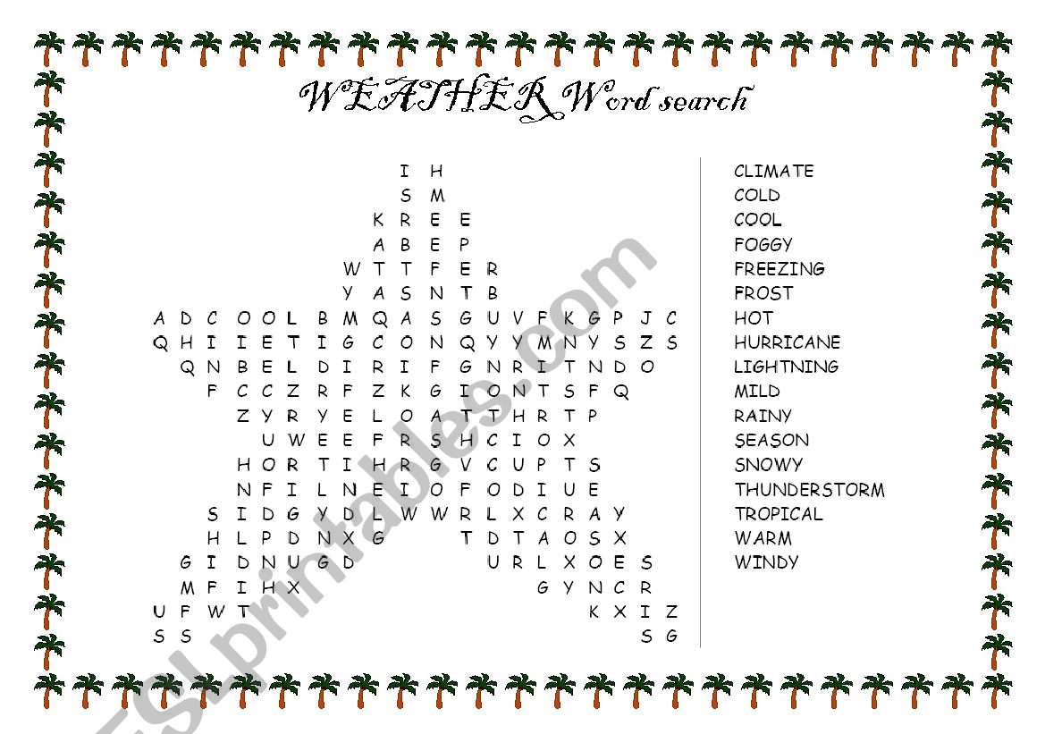 English Worksheets Weather Word Search