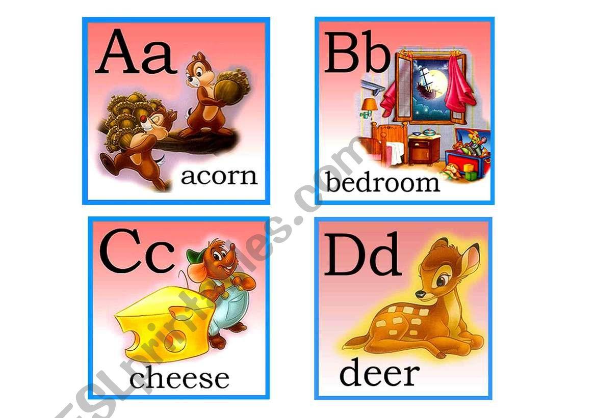 English Worksheets Disney Flash Cards