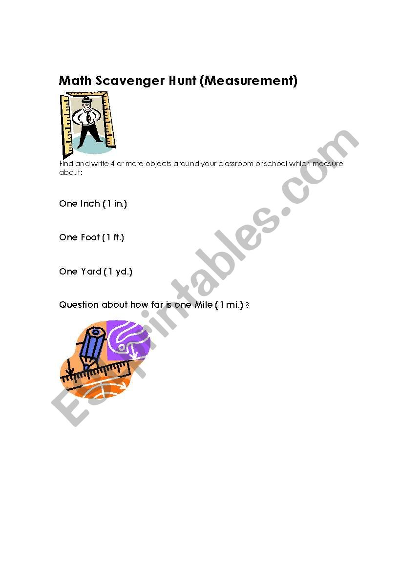English worksheets: Math measure scavenger hunt