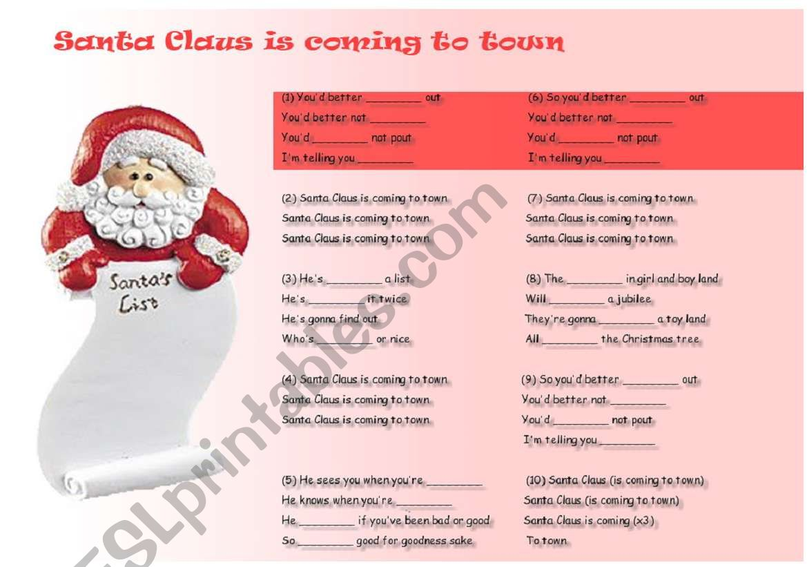 English Worksheets Santa Claus Is Coming To Town