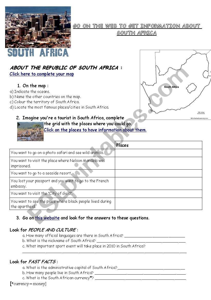 medium resolution of Webquest South Africa (geography/flag/history) - ESL worksheet by varsik
