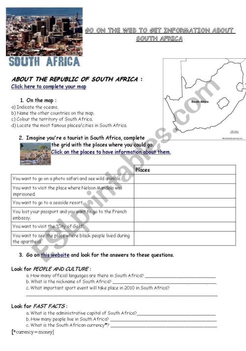 small resolution of Webquest South Africa (geography/flag/history) - ESL worksheet by varsik