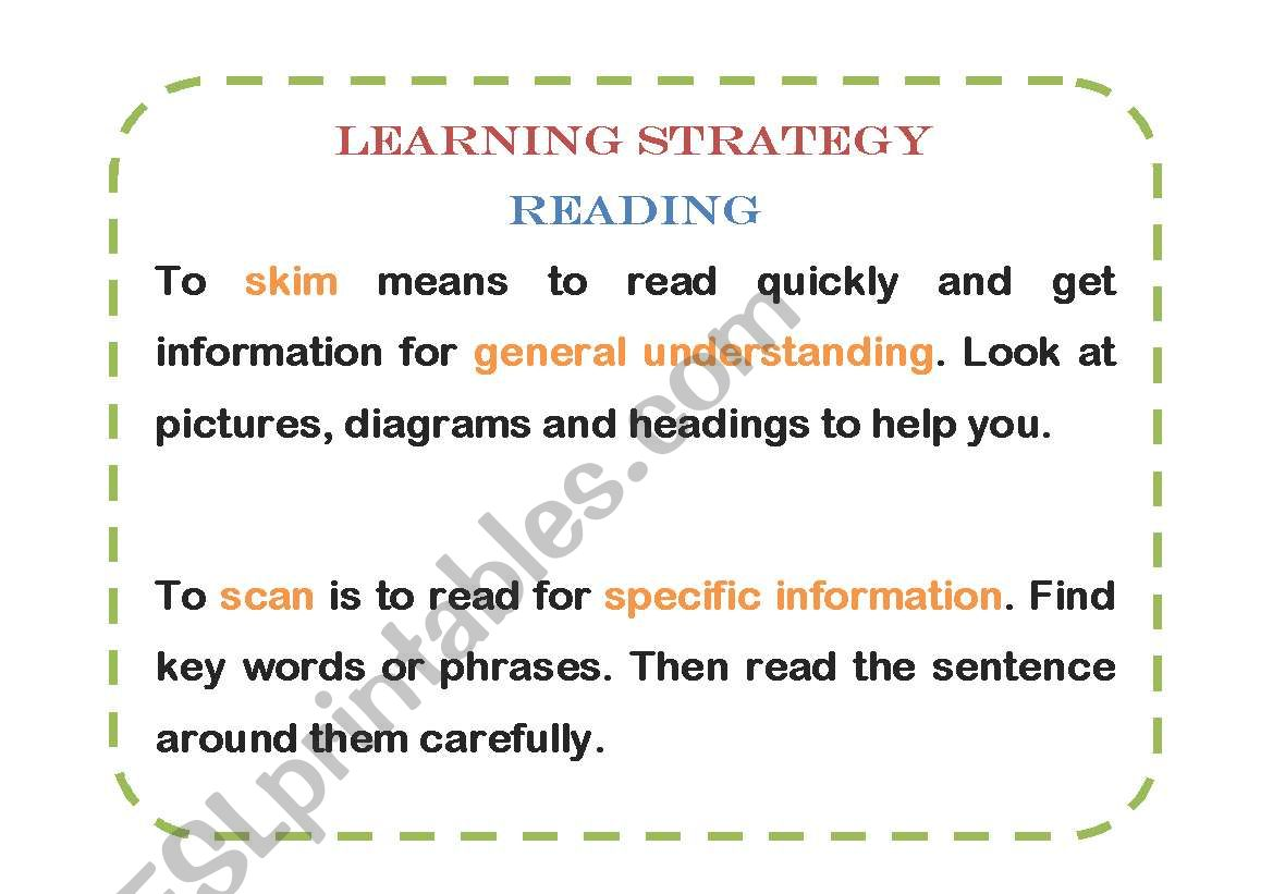 English Worksheets Reading Learning Strategies