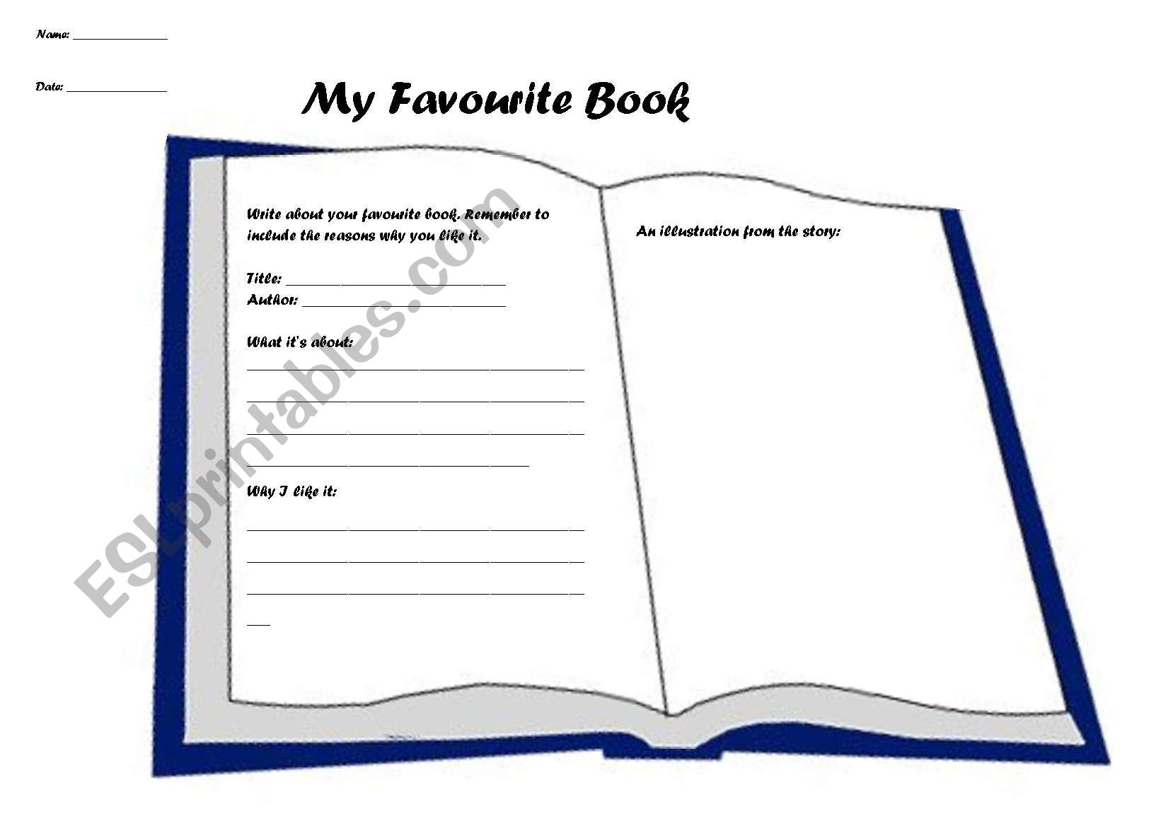 My Favourite Book Sheet
