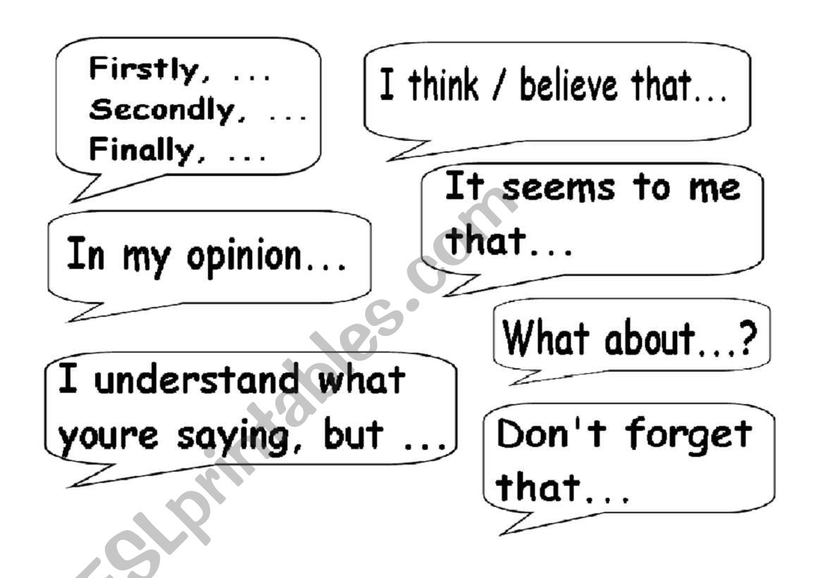 Useful Expressions For Discussions And Debates
