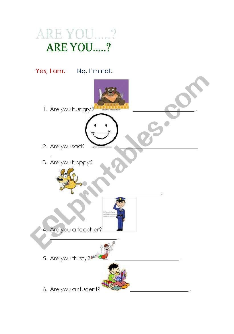 English worksheets: Yes, I am. / No, I´m not.