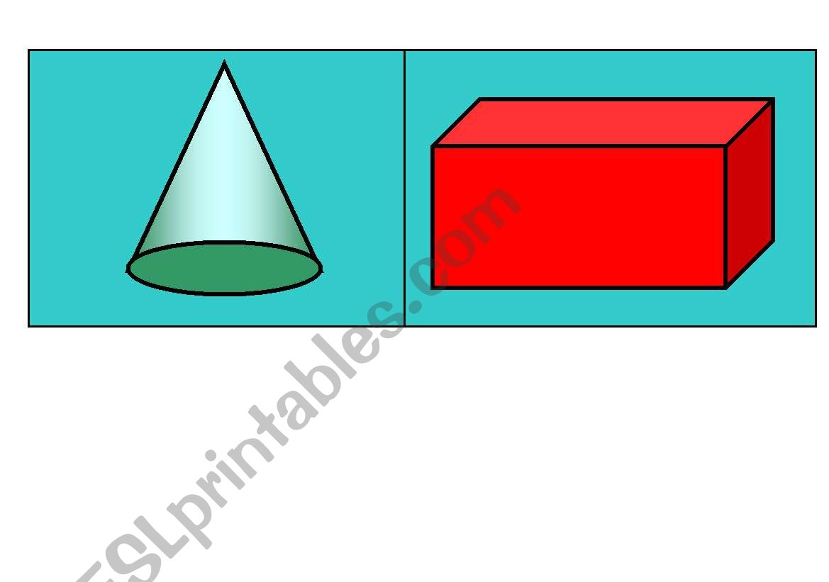 English Worksheets 3d Shapes Flashcards