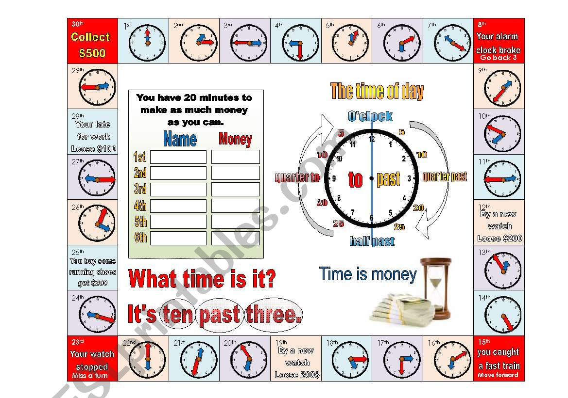 Time Is Money Board Game