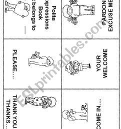 Polite Expressions Mini Book - ESL worksheet by ilona [ 1169 x 821 Pixel ]