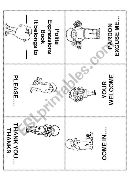small resolution of Polite Expressions Mini Book - ESL worksheet by ilona