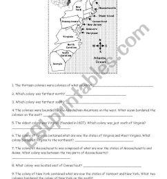 The Thirteen English Colonies Worksheet - Nidecmege [ 1169 x 821 Pixel ]