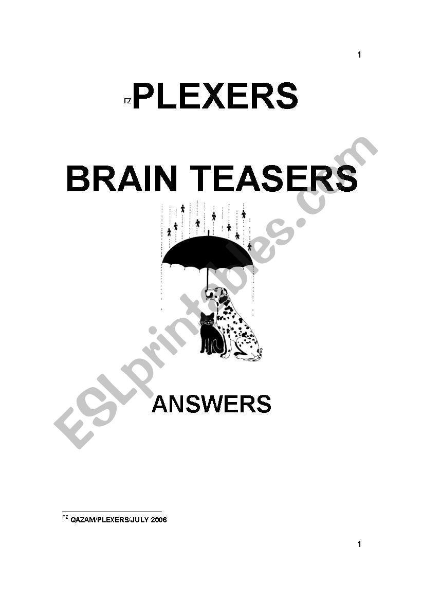 hight resolution of PLEXERS - BRAIN TEASERS - ESL worksheet by sandra46