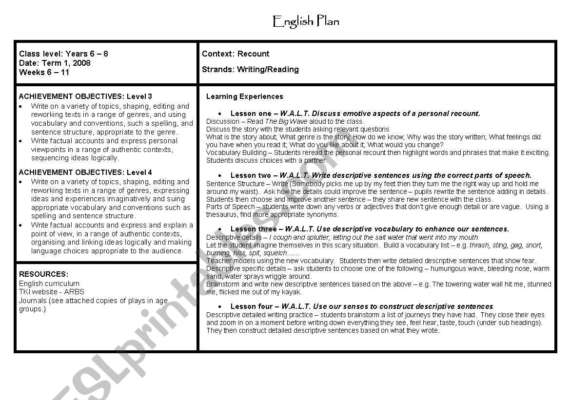 English Worksheets Lesson Plan On Recounts