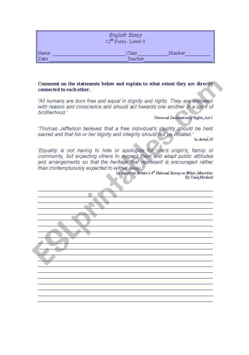 medium resolution of Writng activity 12th grade - ESL worksheet by LuciaRaposo