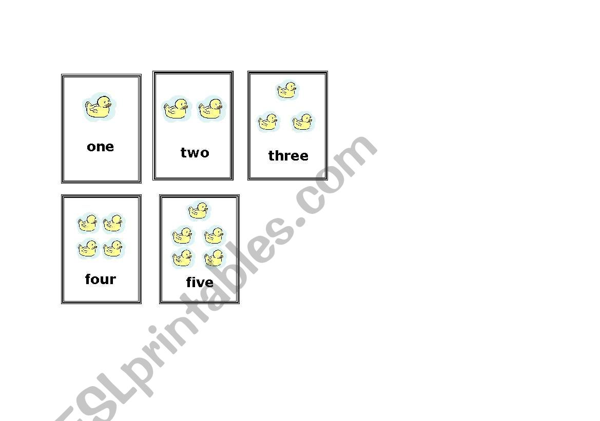 English Worksheets Five Little Ducks Counting Cards